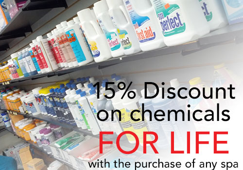 15% Discount on chemicals FOR LIFE with the purchase of any spa.